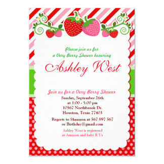 Sweet Berry Strawberry Baby Shower Invitation