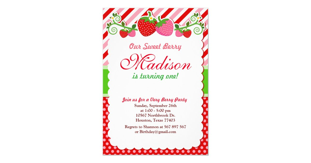 Sweet Berry Strawberry Birthday Party Invitation