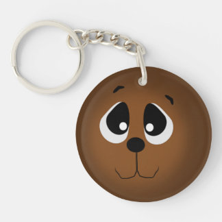 Sweet Big Eyed Bear Face Single-Sided Round Acrylic Keychain