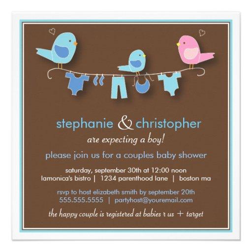 Sweet Bird Boy Couple Baby Shower Invitation