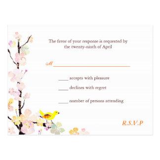Sweet Bird, Cherry Blossom Wedding RSVP (4.25x5.6) Postcard
