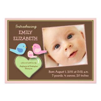 Sweet Bird Family Baby Girl Photo Announcement