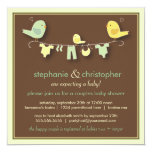 "Sweet Bird Family Couples Baby Shower Invitation 5.25"" Square Invitation Card"