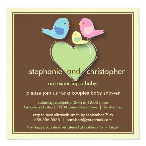 Sweet Bird Family Couples Baby Shower Invitation