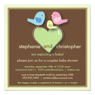 Sweet Bird Family Couples Baby Shower Invitation