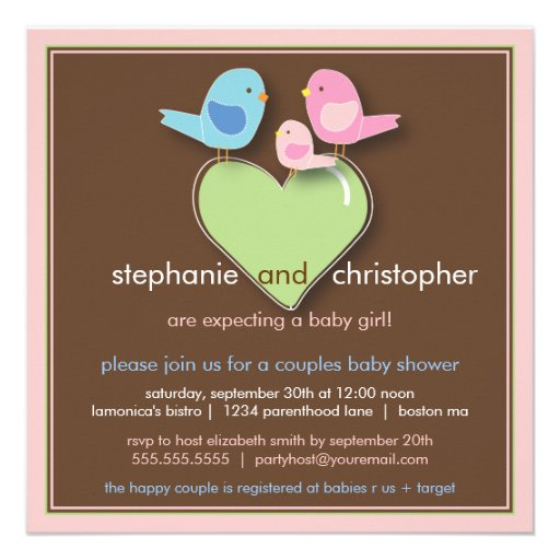 sweet bird family couples baby shower invitation square