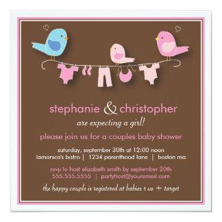 Sweet Bird Girl Couple Baby Shower Invitation