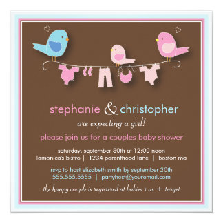 "Sweet Bird Girl Couple Baby Shower Invitation 5.25"" Square Invitation Card"