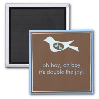 Sweet Bird Mommy in Blue with Twin Baby Boys 2 Inch Square Magnet