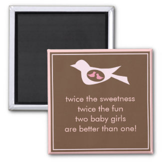 Sweet Bird Mommy with Twin Baby Girls Magnet