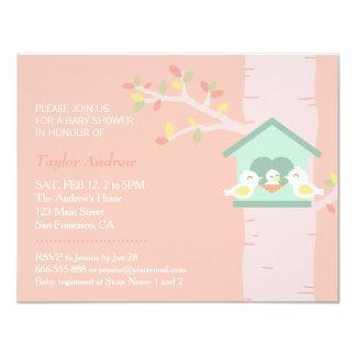 "Sweet Birdhouse Nest Bird Spring Pink Baby Shower 4.25"" X 5.5"" Invitation Card"