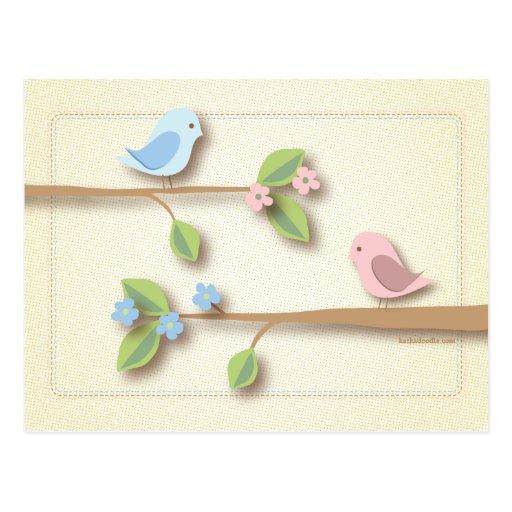 Sweet Birdie Baby Shower Words of Advice Card Postcards