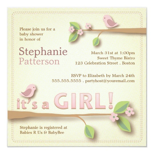 Sweet Birdie It's a Girl Baby Shower Invitation