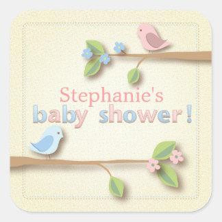 Sweet Birdie Pink & Blue Baby Shower Sticker