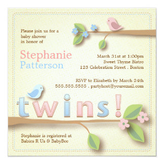 twins baby shower invitations  announcements  zazzle, Baby shower invitations
