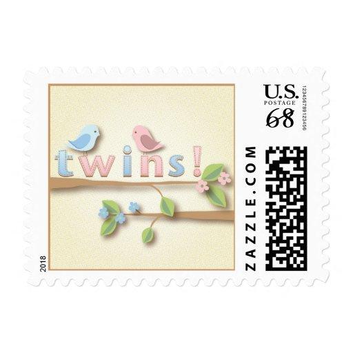 Sweet Birdie Twin Boy Girl Postage Stamp