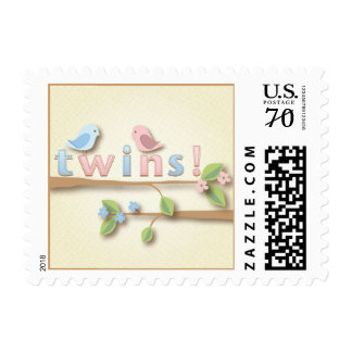 Sweet Birdie Twin Boy Girl Postage Stamp