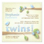 Sweet Birdie Twin Boys Blue Baby Shower Invitation
