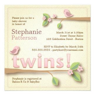 Sweet Birdie Twin Girls Baby Shower Invitation
