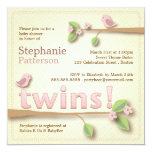 "Sweet Birdie Twin Girls Baby Shower Invitation 5.25"" Square Invitation Card"
