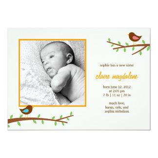 Sweet Birdies Baby Birth Announcement