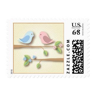 Sweet Birdies in Pink & Blue Postage Stamp