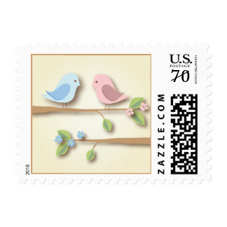 Sweet Birdies in Pink & Blue Postage Stamp