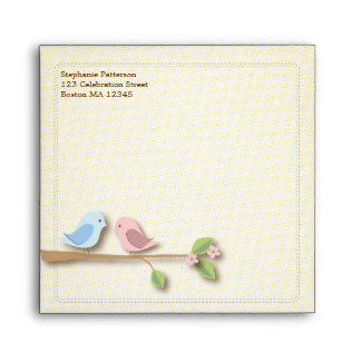 Sweet Birdies Pink Blue Square Envelope