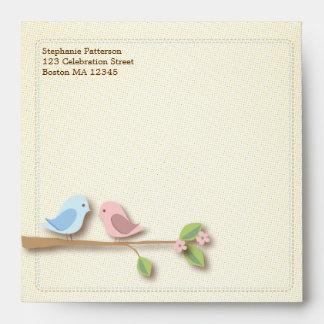 Sweet Birdies Pink Blue Square Envelope