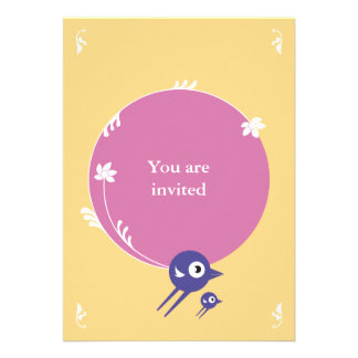 SWEET BIRDS FLYING INVITATION CARD YELLOW