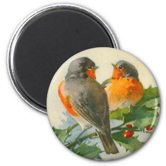 Sweet Birds Vintage Postcard Print Magnet