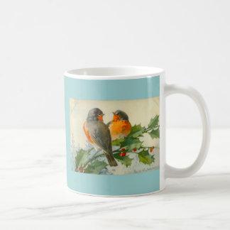 Sweet Birds Vintage Postcard Print Mug Coffee Cup