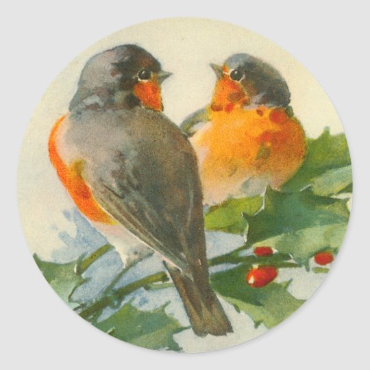 Sweet Birds Vintage Postcard Print Stickers Tags