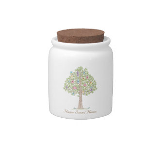 Sweet Birds with their Tree Homes Candy Jar. Candy Dishes