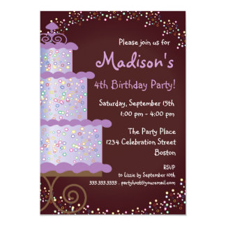 Sweet Birthday Cake Birthday Party Invitation