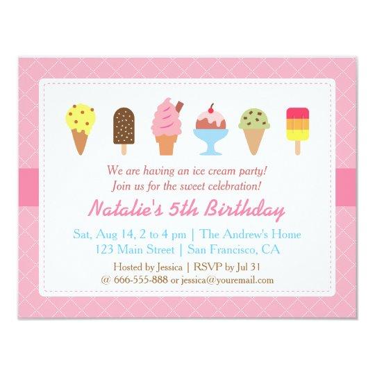 sweet birthday ice cream party invitations zazzle com