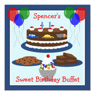 Sweet Birthday Treats Buffet Party Personalized Invite