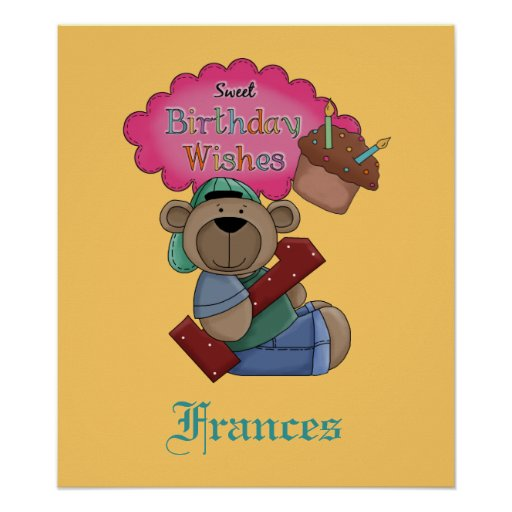 Birthday Date Poster: Sweet Birthday Wishes 1 Year Old Birthday Poster