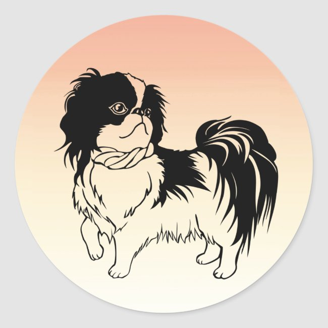 Sweet Black and White Dog on Orange Sticker