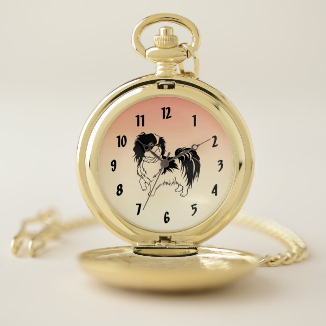Sweet Black and White Dog Pocket Watch