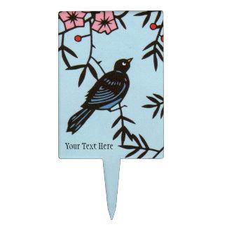 Sweet Black Bird in Cherry Blossom Tree Flowers Cake Topper