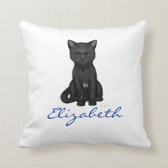 Sweet Black Cat w/Golden Eyes - Blue Custom Name Throw Pillow