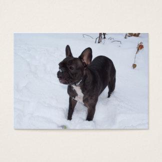 Sweet Black French Bulldog Likes Snow Business Card