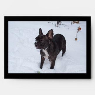 Sweet Black French Bulldog Likes Snow Envelope
