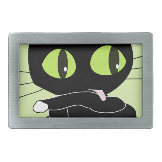 Sweet black Kitten with white Paws Belt Buckle