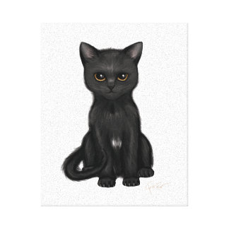 Sweet Black Kitty Cat with Bright Golden Eyes Canvas Print