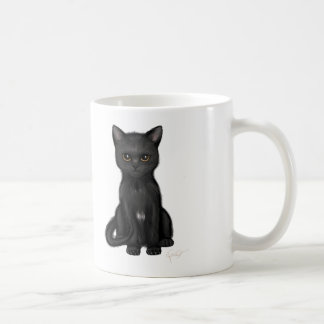 Sweet Black Kitty Cat with Bright Golden Eyes Coffee Mug