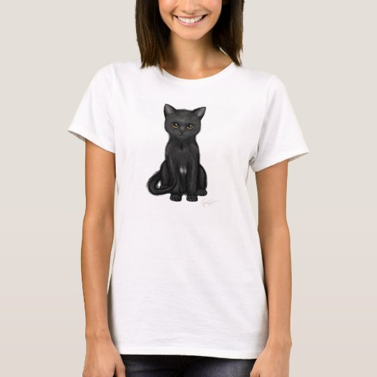Sweet Black Kitty Cat with Bright Golden Eyes T-Shirt