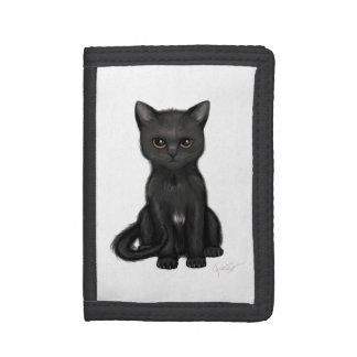 Sweet Black Kitty Cat with Bright Golden Eyes Tri-fold Wallet