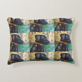 Sweet Black Lab painting on pillow
